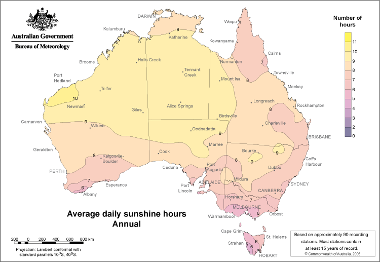Sunshine hours map